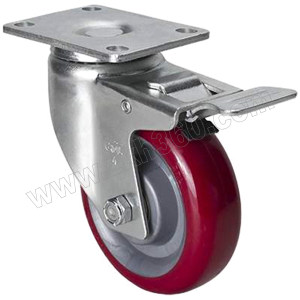 EDL/易得力 镀锌4寸平顶刹车高强度聚氨酯TPU脚轮 50124L-504-86 载重150kg 底板规格95×64mm 安装高度133mm 1只