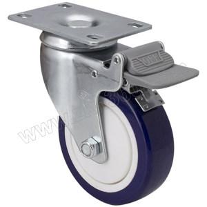 EDL/易得力 镀锌4寸平顶刹车高强度聚氨酯TPU脚轮 57124H-574-87 载重130kg 底板规格95.5×66.5mm 安装高度135mm 1只