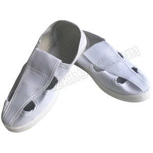 GC/国产 布面防静电四孔鞋 S101 36码 白色 PVC底 1双