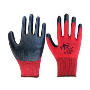 XINGYU/星宇 十三针红尼龙丁腈涂掌手套 N528 M(均码) 黑色 1双