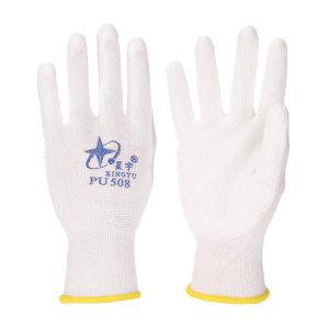 XINGYU/星宇 十三针白尼龙PU涂掌手套 PU508 7码 黄边 1双