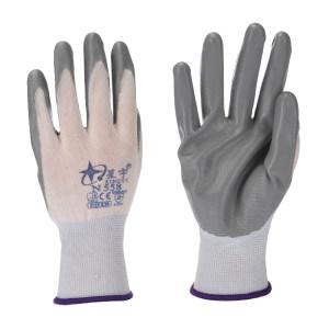 XINGYU/星宇 十三针白尼龙丁腈涂掌手套(吊卡) N558 M(均码) 灰色涂层 1双