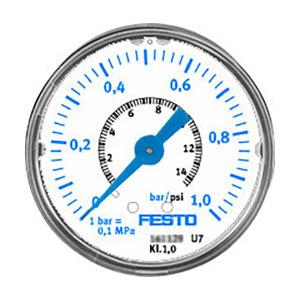 FESTO/费斯托 MAP系列压力表 MAP-40-1-1/8-EN 压力范围0~1bar 标准式 表盘外径40mm 接口G1/8 161126 1个