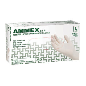 AMMEX/爱马斯 一次性加厚型乳胶检查手套 TLFCMDX44100 M 无粉麻面 1盒