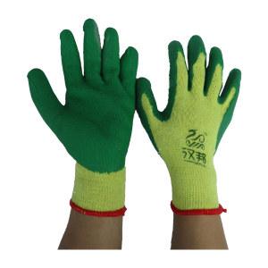 HANBANG/汉邦 10针黄纱掌浸乳胶手套 乳胶涂层工作手套 均码 绿色掌浸 1副