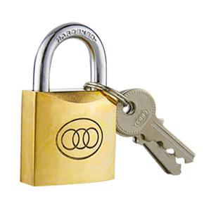 SANHUAN/三环 短梁黄铜挂锁 263(32#) 不通开 锁体宽32×30mm 锁梁粗φ5.4mm 锁梁宽27mm 总高52mm 1把