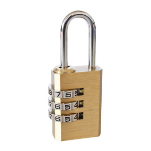 SANHUAN/三环 黄铜密码锁 T123(C09) 三环黄铜锁体 三位密码 锁体20*10mm 锁梁Φ3mm 锁梁宽8mm 总高53mm 1把