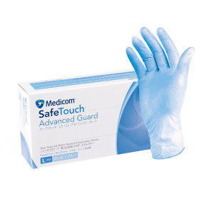 MEDICOM/麦迪康 加强型一次性蓝色丁腈手套 1136D L 5g 无粉麻面 100只 1盒