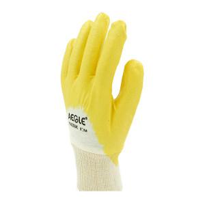 AEGLE/羿科 棉毛布丁腈半浸手套(罗口袖) 60604102 9码 黄色 1副