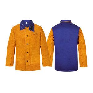 AP/友盟 金黄色皮配蓝色阻燃背布上身焊服 3060 2XL 1件