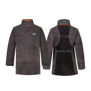 AP/友盟 炭啡色护胸带领长袖围裙 8002 XL 84cm 1件