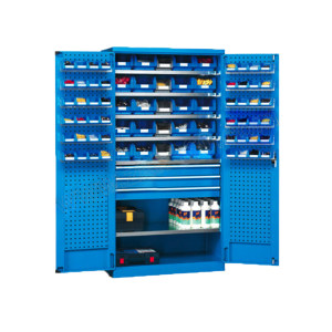 VBANG/位邦 挂板式储物柜 GD831301-P 尺寸1023×555×1800mm 含73个蓝色零件盒 整体灰色RAL7035 1台