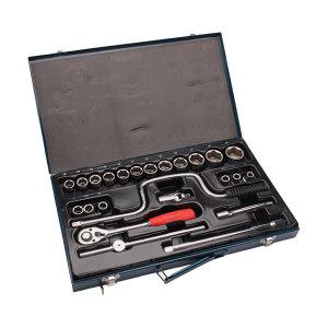 """JETECH/捷科 1/2""""系列公制套筒套装(24件)铁盒 SK1/2-24S 24件 10-32mm 1套"""