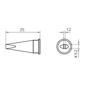 WELLER/威乐 LHT C 烙铁头 T0054445599 凿形3.2x1.2mm 1个