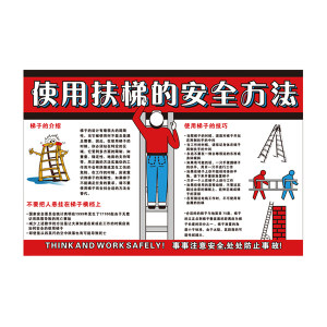 SAFEWARE/安赛瑞 安全教育挂图(使用扶梯的安全方法) 30419 500*750mm 1张