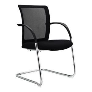 ZKH/震坤行 FG-166网面培训椅 FG-166C 颐达TW系列网布 40高密度海绵 黑色硬扶手+2.0厚电镀弓形椅架 1把