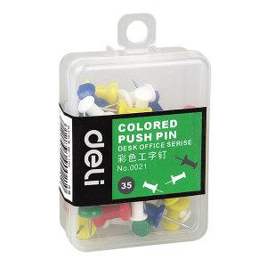 DELI/得力 彩色工字钉 0021 25mm 彩色 35枚装 1盒