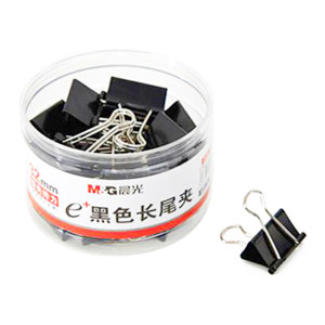 M&G/晨光 Eplus黑色长尾夹 ABS92734 32mm 黑色 24只 1筒
