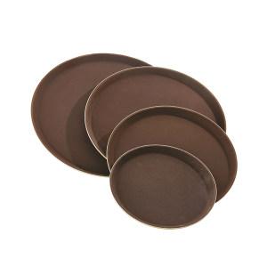 TRUST/特耐适 圆形玻璃钢防滑托盘 8251 棕色 直径27.5cm 1个