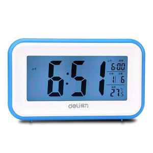 DELI/得力 多功能电子钟 8801 15×9×15cm 蓝色 1只