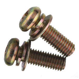 ZKH/震坤行 GB9074.4 十字槽盘头螺钉、弹簧垫圈和平垫圈组合件 碳钢 4.8级 镀彩锌 全牙 300121003001200300 M3×12 500个 1包