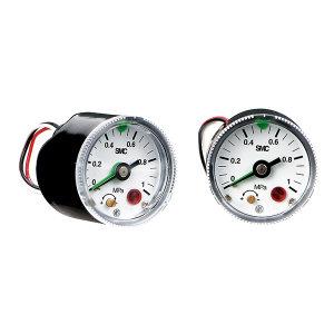 SMC GP46系列带压力开关的压力表 GP46-10-01L5-X201 压力范围0~1MPa 标准式 表盘外径42.5mm 接口R1/8 1个