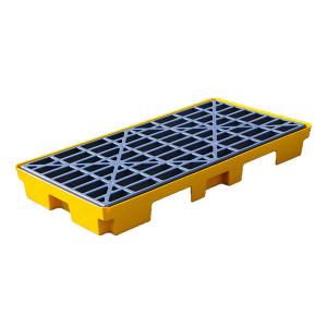 TWK 聚乙烯双桶防溢平台 1201 黄色 1320*660*150mm HDPE网格 1套