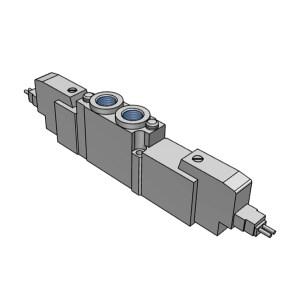 SMC SY5000系列五通电磁阀 SY5320-5LZD-01 三位五通中封 L型插座式 接口Rc1/8 DC24V 1个
