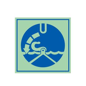 SAFEWARE/安赛瑞 船用IMO安全标志(艇(筏)降至水面后,打开脱钩装置) 21025 150*150mm 无文字 1张