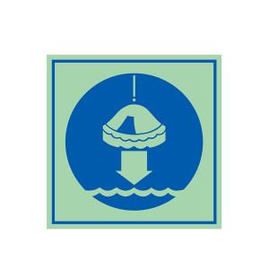 SAFEWARE/安赛瑞 船用IMO安全标志(将救生筏降至水面) 21035 150*150mm 1张