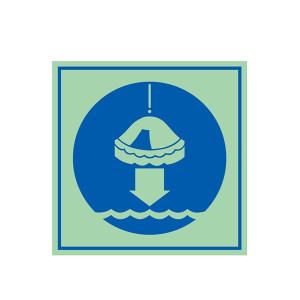 SAFEWARE/安赛瑞 船用IMO安全标志(将救生筏降至水面) 21036 150*150mm 1张