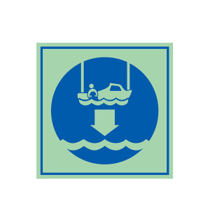 SAFEWARE/安赛瑞 船用IMO安全标志(将救助艇降至水面) 21037 150*150mm 1张