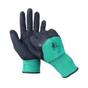 XINGYU/星宇 星桥系列十三针尼龙乳胶皱纹半浸手套 L835 均码(8码) 黑色涂层 绿色尼龙 1付
