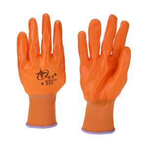 XINGYU/星宇 十三针彩尼龙PVC半浸手套 P538 M(均码) 橘色 1副