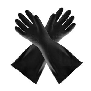 WEIDIE/威蝶 黑色工业耐酸碱手套 40A-1 均码 40cm加厚 1副