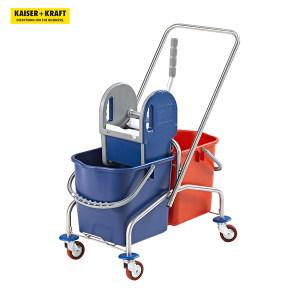 K+K/皇加力 EUROKRAFT不锈钢清洁车 480729 410×770×900mm双移动桶 2个25L 金属脚轮 1个