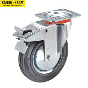 K+K/皇加力 实心橡胶轮胎,钢板轮辋 751731 脚轮直径x宽250x60,带刹车的万向脚轮 1个