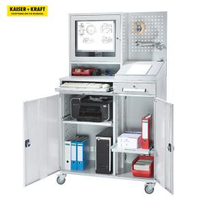 K+K/皇加力 EUROKRAFT电脑柜 117909 高x宽1770x1100,带显示器隔间,方孔板,台面门颜色为浅灰色 1个