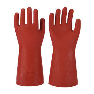 ANQUAN/安全 1级(手型)12kv绝缘手套 S012-1 红色 360±15mm  交流电压8000V 1付