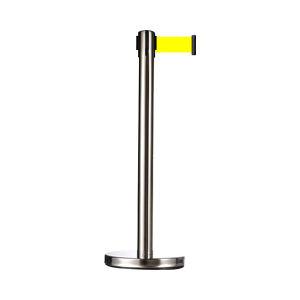 JSD/警士盾 不锈钢隔离栏杆 VSS513 黄色织带 底盘直径350mm高度900mm立杆直径76mm伸缩带长度5m 1个