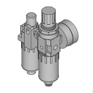 PNEULEAD/纽立得 PSD系列二联件 PSD20-02 过滤精度5μm 压力范围0.5~10bar 接口Rc1/4 自动排水式 附压力表 1套