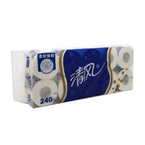 BREEZE/清风 有芯小卷卫生纸 B22AT3BN 三层 110×100mm 1kg 240节×10卷×10提 1袋