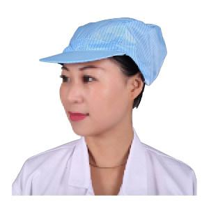 HYJJ/翰洋洁净 条纹防静电小工帽 KL-3009 均码 蓝色 1顶