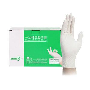 AMMEX/爱马斯 一次性橡胶检查手套 TLFCSIP44100 M 无粉麻面 1盒