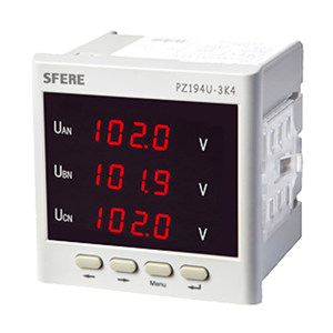 SFERE/斯菲尔 单相交流电压表(带变送输出) PZ194U-3K4 AC100V 三相三线 4~20mA输出 1台