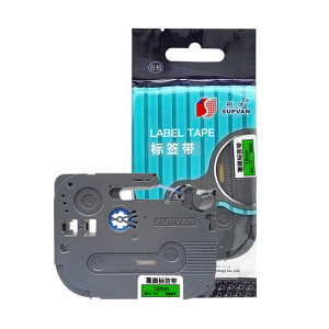SUPVAN/硕方 标准覆膜标签带 L-731 绿底黑字 12mm宽 1卷