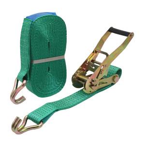 SANSUI/山水 高强度捆绑带(双钩) 3t*5m *48mm绿色 含棘轮拉紧绳 拉紧器 金属挂钩 1根