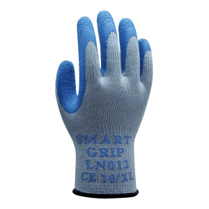 HANVO/恒辉 10针乳胶皱纹涂掌手套 LN012 8码 蓝色 1副