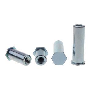 ZKH/震坤行 盲孔压铆螺母柱 1008 碳钢 蓝白锌 BSO-3.5M3-22 1包