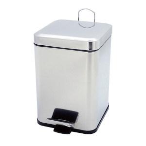MINYIN/敏胤 410不锈钢加厚缓降方形脚踏式垃圾桶 L2206 255×255×305mm 6L 不锈钢镜面 1个